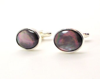 Misty Moonlight II Blacklip Mother of Pearl Cufflinks – Black Pearl Cufflinks - Black Mother of Pearl Cufflinks