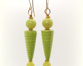 Bottoms Up Lemon Jade Sparkle Cone Bead Earrings - Lemon Jade Earrings - Yellow Earrings