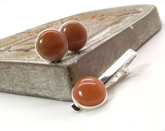 Red Aventurine Cufflink and Tie Clip Set – Soft Orange Red Cufflink and Tie Clip Set -  Cufflinks Tie Bar Tie Clip