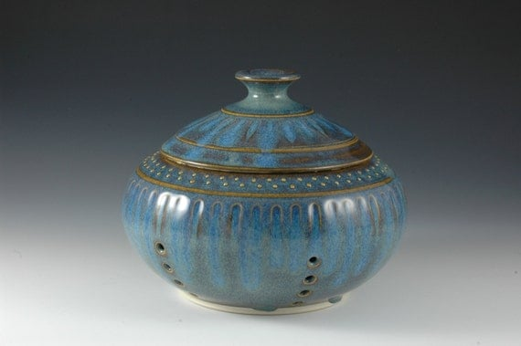 Light Blue Stoneware Ceramic Garlic Keeper - Carved Pottery