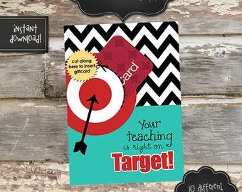 TEACHER APPRECIATION TARGET Gift Card Holder - 5x7 - Instantly Downloadable Digital File - You Print