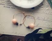 Pastel Beaded Hoop Earrings, Shabby Bohemian Chic Jewelry, Hoop Earrings Made With Vintage Beads, Small Gold Hoops