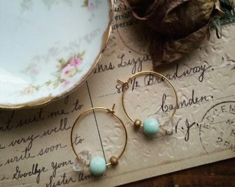 Gold and Aqua Beaded Hoop Earrings, Small Gold Hoops Made With Vintage Beads, Shabby Chic Earrings For Women, Stocking Stuffer Gift Idea