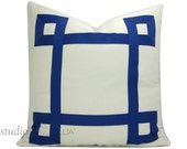 White and Blue Ribbon Pillow Cover  - Greek Key - Ivory white and medium blue - Custom - decorative pillow cover - made to order