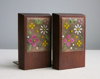 Vintage Ernest Sohn Enameled Copper and Walnut Bookends with Flowers - Mid Century Library Book Decor