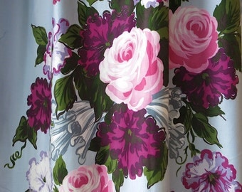 Vintage Waverly Fabric - Floral Cotton Upholstery Yardage Jabot Rose - Light Blue Purple Flower Bouquet -  36 In Width 4 Yds 1940s Sateen