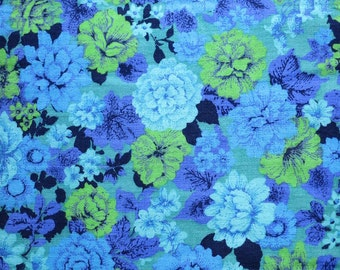 Vintage Textured Cotton Floral Fabric - Thin Barkcloth Yardage - Blue Green Flowers  1.86 Yards 42 Inches Wide - Upholstery Textile