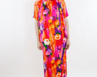 Vintage 60's soft polyester house dress, super bright colorful floral pattern, painterly watercolor style, mandarin collar, one pocket - Med