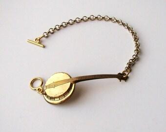 vintage banjo bracelet - hillbilly music jewelry