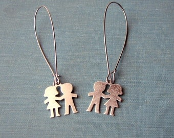 paper doll earrings . surgical steel hoop earrings . paper people boy and girl