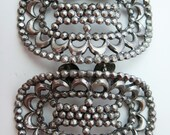 Vintage Pair MUSI Shoe Clips Oval Silver Great Condition