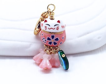 Maneki-Neko Happy Cat -  Blush Pink Purse Charm, Lucky Cat Bead, Choice of Clasp or Headphone Jack Dust Plug or Lanyard for Cell Phones