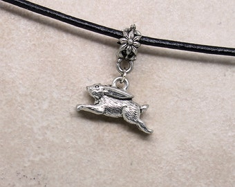 Bunny Rabbit Pendant - Pewter Charm Pendant Alone or on Black Leather Cord Adjustable Necklace from 18 - 20 Inches, Woodland Animal