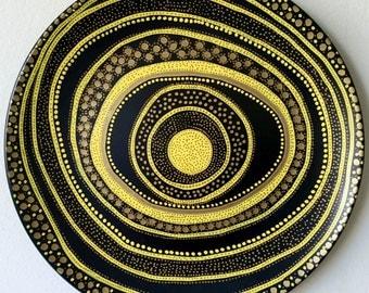 Decorative Plate - Yellow Spiral Decor - Original hand-painted Artwork - Wall Hanging - Wall Decor - Wall Circle Art - Wall Art