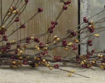 "55"" Primitive Burgundy/Mustard Pip Berry Garland"