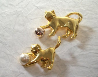 Vintage Animal Fashion Brooch Pins Cat  Accessory