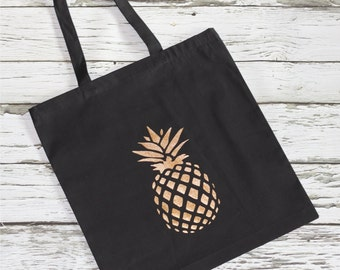 PINEAPPLE BLACK & GOLD Tote - Full Sized Tote - Summer - Bride - Wedding Day - Bridal Party