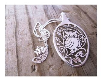 Owl Silver Necklace Pendant Owl out Statement Spoon Pendant Owl Hand Cut folk art teaspoon silverware statement Necklace