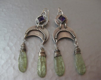Green Kyanite and Amethyst Point Sterling Silver Earrings