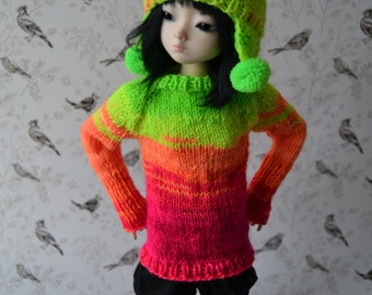 Neon rainbow hand-knitted set for slim mini, unoa, minifee, etc.
