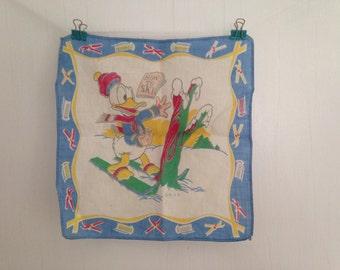 Vintage Donald Duck Handkerchief, Vintage Disney Handkerchief, Vintage Children's Handkerchief, Vintage Hankie, Ski Theme, Small Hankie