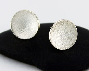 "Handcrafted  Sterling Post/Stud Earrings ""Stardust"" Simple Round Textured Minimalist Contemporary Artisan Design Jewelry  981255081212815"
