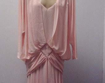 Sale Valentines 1980s Long Sleeves 80s does 20s/30s, dress by Casadei, Pale peach, Size S/M, #55689