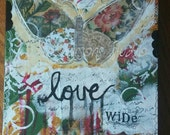 Butterfly Art Print/ canvas/mixed media collage /love wide