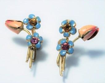 Vintage enamel flower earrings. Austrian crystal earrings.  Screwback earrings