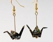 Origami Crane Earrings in Black
