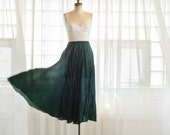 90s Silk Skirt - Vintage 1990s Maxi Skirt - Evergreen Silk Maxi Skirt