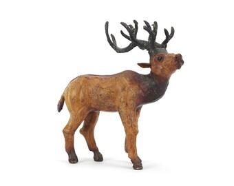 vintage small leather elk figurine