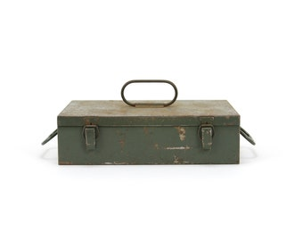 vintage industrial small green metal case with handles