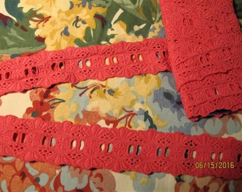Pink Cotton embroidered lace trim