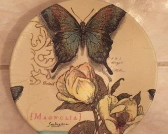 Designer Plate (Small) - Magnolias & Butterfly