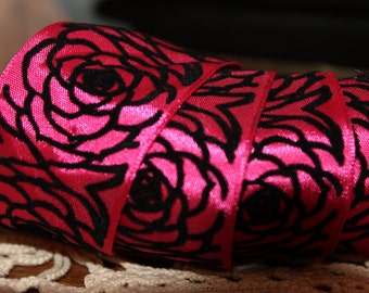 Hot Pink and Black Rose's Wire  Ribbon 1 1/2 ""