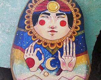 THE MOON Hand painted wood block wall art