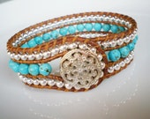 Free Shipping Wrap Bracelet Turquoise Silver Leather Cuff Free Shipping Etsy