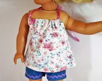 """Pink and Purple Flowers Halter Top Made to Fit Dolls Like Gotz or American Girl  18"""""""