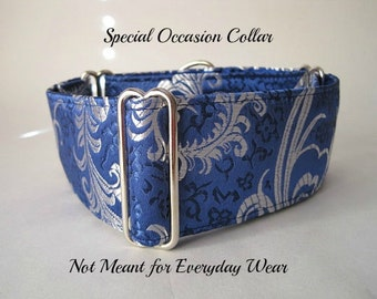 Silk Martingale Collar, Blue Martingale Dog Collar, Silk Brocade, Silk Dog Collar, Custom Dog Collar, Greyhound Collar