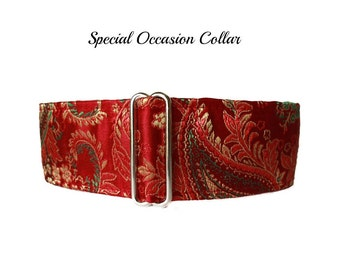 Red Martingale Collar, Silk Martingale Collar, Red Greyhound Collar, Silk Dog Collar, Silk Brocade, Custom Dog Collar