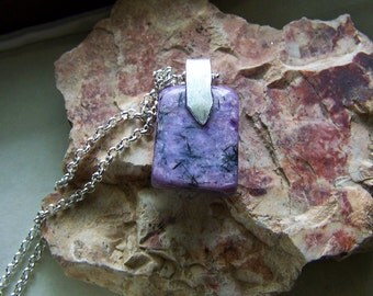 Natural Purple Charoite Gemstone Pendant