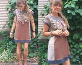 Eco Tunic Shirt,size M/L, eco clothing, tunic dress,patchwork tunic, color block tunic,cap sleeve dress, neutral dress, mini dress,  Zasra
