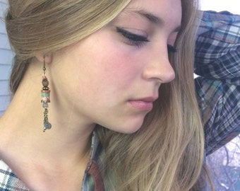 LOVE Sale boho  EARRINGS,hand painted earrings, beaded earrings, rustic earrings, lightweight earrings, charm earrings,wood earrings,free pe