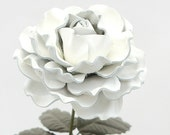 Leather Rose White Large Third Wedding Anniversary Gift Long Stem Flower Valentine's Day 3rd Leather Anniversary Mother's Day