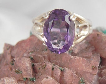 Natural Faceted Amethyst and Sterling Statement Ring
