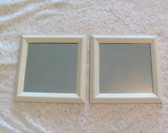 Antique White Wall Mirrors, Square Mirrors, Cream Framed Pair of Wall Mirrors