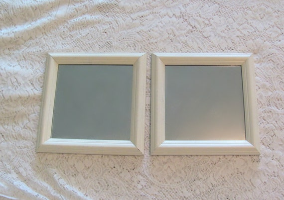 Antique White Wall Mirrors, Square Mirrors, Cream Framed Pair of Wall ...