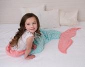 Mermaid Tail - Mermaid Blanket - Mermaid Sleep Sack- Aqua Coral - Minky Mermaid Tail - Girls Bedding- Minky Bedding - Ships out in 1-3 Days