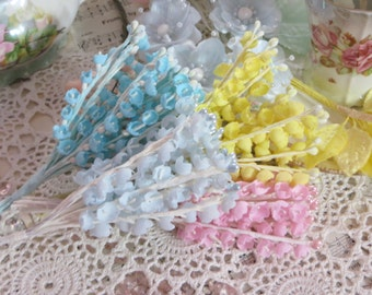 Vintage Millinery Flowers-Lily of the Valley-Hats-Easter-Derby-Supplies-Easter Pastels-Your Choice